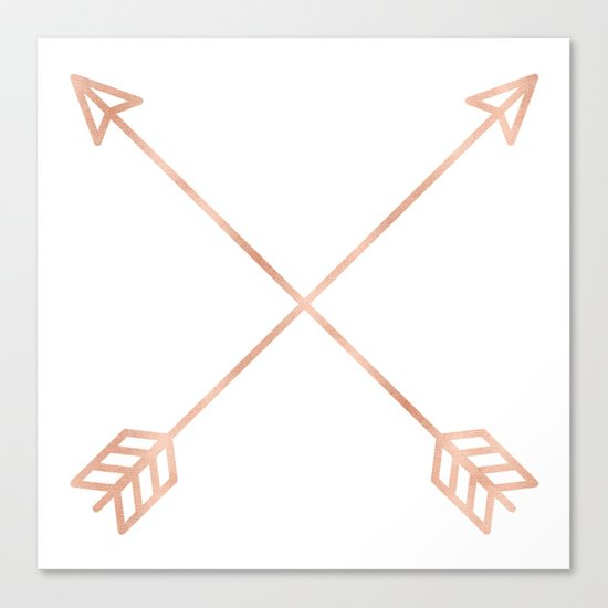 Rose Gold Arrows on White Canvas Print