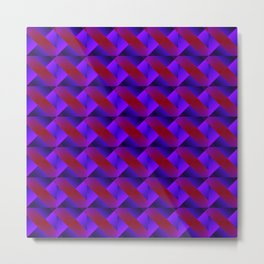 Diagonal ribbon of raised stripes with violet intersecting dark triangles and highlights. Metal Print