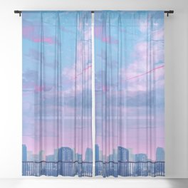 Aesthetic Japanese City View Anime Sheer Curtain