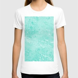 Modern turquoise white abstract marble pattern T-shirt