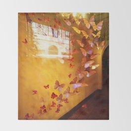 Butterflies in Window Throw Blanket