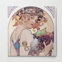 """Alfons Mucha,"""" Fruit """" Metal Print"""