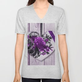 Violet heart   Coeur violet Unisex V-Neck