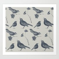 Birds and Daisies, drawing in blue and grey Art Print