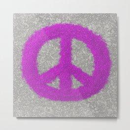 Fuchsia Splat Painted Peace Sign Metal Print