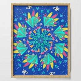 Peacock & Flower Mandala4 Blue Background Serving Tray