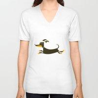 dachshund V-neck T-shirts featuring Dachshund by Fabio Rex