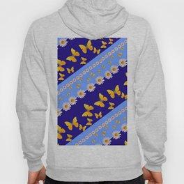 BLUE ART YELLOW BUTTERFLIES & WHITE DAISIES  DIAGONAL STRIPES Hoody