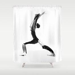Moder black and white, minimalist ink figure yoga drawing, yoga illustration, yoga pose, yoga art Shower Curtain
