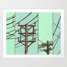 Nebraska Power Lines Art Print