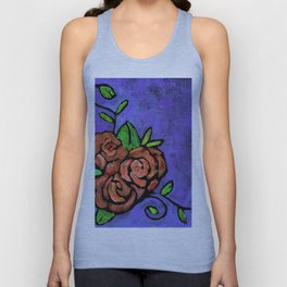 Orange Whimsical Roses Unisex Tank Top
