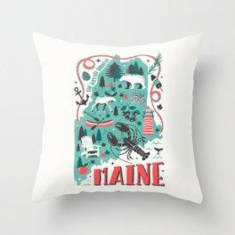 Maine Map Throw Pillow