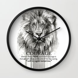 Lion Courage Motivational Quote Watercolor Painting Wall Clock