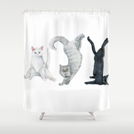 Yoga cats Shower Curtain