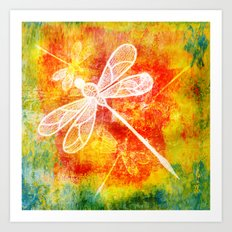 Dragonfly in embroidered beauty Art Print