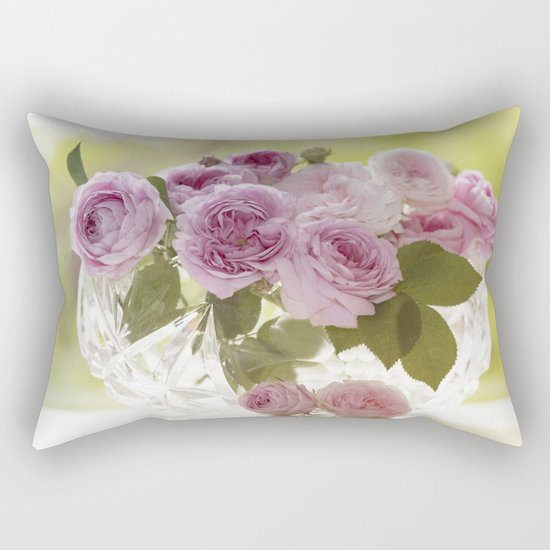 Wonderful English Roses in a crystal bowl- Rose-Flowers- Rectangular Pillow