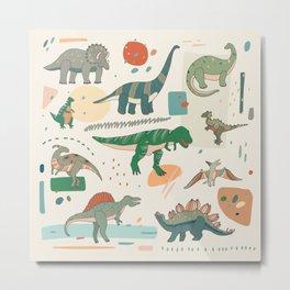 Dinosaur cartoon illustrations set Metal Print