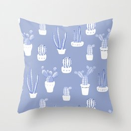Elegant Blue Cacti in Pots Pattern Throw Pillow