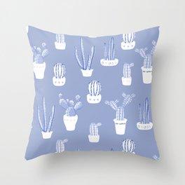 Elegant Blue Cacti in Pots Pattern Throw Pillow