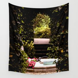 Secret Garden with Frog Prince Fountain Wall Tapestry