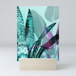Sansevieria Leaves Big Leaves turquoise violet #leaves Mini Art Print
