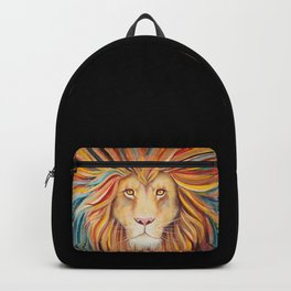 The Sun King - Lion watercolor with gold Backpack