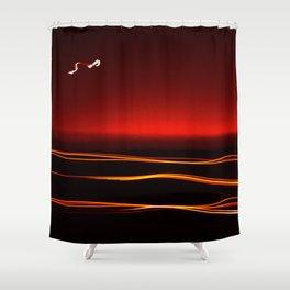 Night Lights Moon and Three Autos Shower Curtain