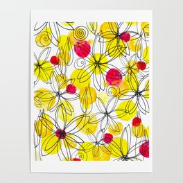 Pineapple Upside Down Floral: Bright Paint Spots with Black Ink Floral Elements Poster