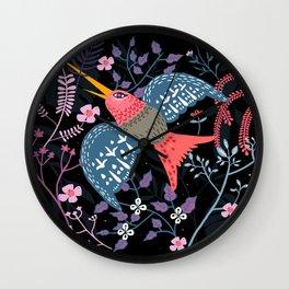 Flowered hummingbird Wall Clock
