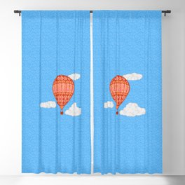 Hot Air Balloon, Coral Orange Against a Blue Sky Blackout Curtain