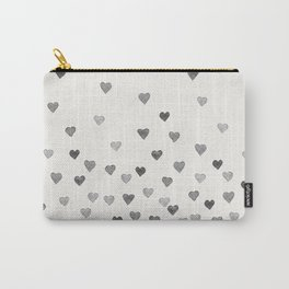 BLACK WATERCOLOR HEARTS Carry-All Pouch