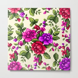 Pixel Floral - Pink on White Metal Print