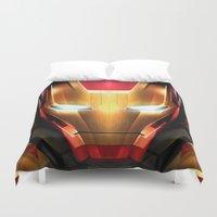 iron man Duvet Covers featuring IRON MAN IRON MAN by Smart Friend