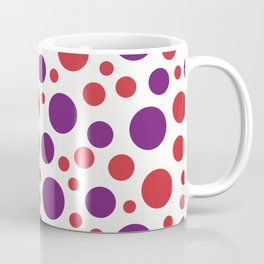 Red and purple dots of different sizes over beige background Coffee Mug
