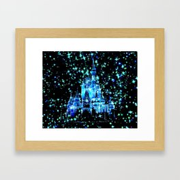 Enchanted Fairy Tale Castle Sparkle Blue Teal Framed Art Print