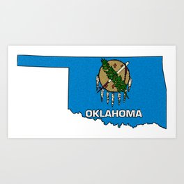 Oklahoma Map with State Flag Art Print