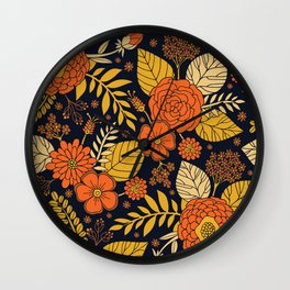 Retro Orange, Yellow, Brown, & Navy Floral Pattern Wall Clock