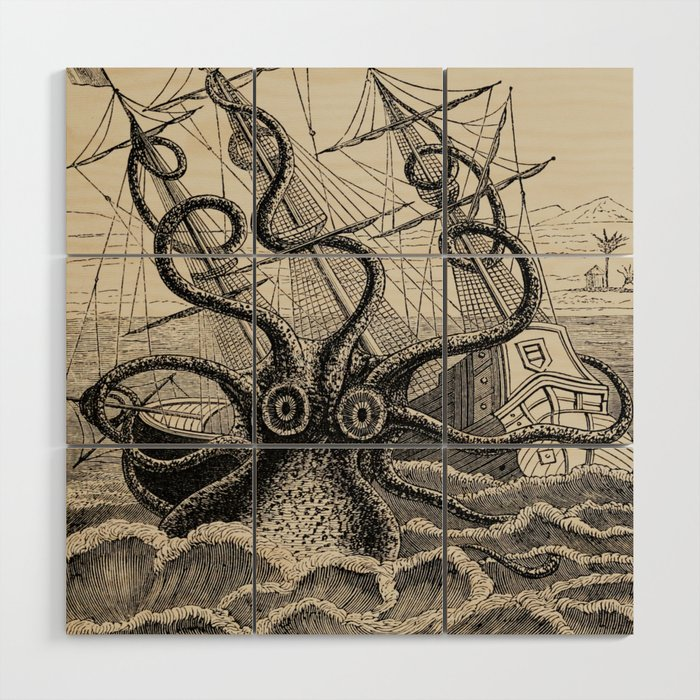 The Octopus Or The Devil Fish Henry Lee 1875 Giant Octopus Sinking Ship Wood Wall Art By Enshape
