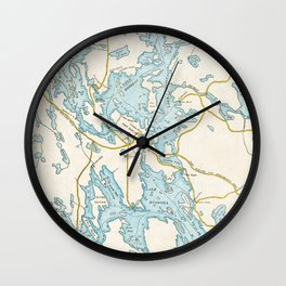 Vintage Muskoka Lakes Map Wall Clock