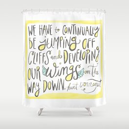 jumping off cliffs - kurt vonnegut quote Shower Curtain