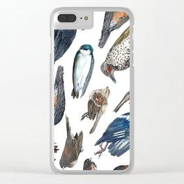 Dead Bird Pattern Clear iPhone Case