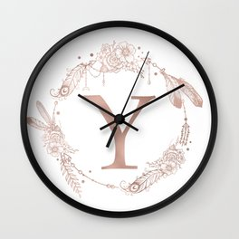 Letter Y Rose Gold Pink Initial Monogram Wall Clock