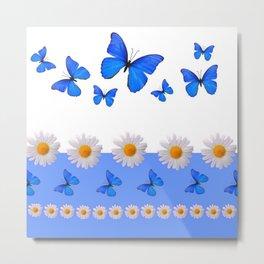 BABY BLUE MODERN ART BLUE BUTTERFLIES & WHITE DAISIES Metal Print