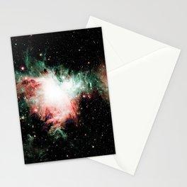 Orion Nebula Living Coral Sage Green Stationery Cards