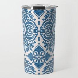 Blue Folk Azulejo Tile No.5 Travel Mug