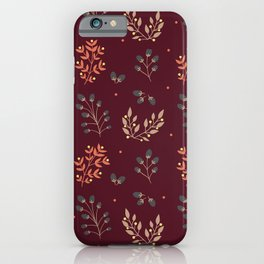 RED MERLOT FLORAL FALL iPhone Case
