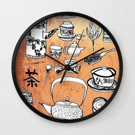 Chinese Tea Doodles 2 Wall Clock