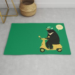 scooter bear green Rug