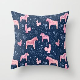 Swedish Dala Horse and Rooster Blue and Pink Pattern Throw Pillow