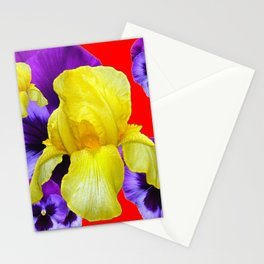 RED COLOR YELLOW-PURPLE PANSY ART Stationery Cards